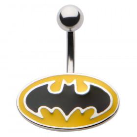 Piercing nombril acier chirurgical logo Batman de ouleur noir et jaune