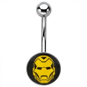 Piercing nombril acier chirurgical logo Iron man