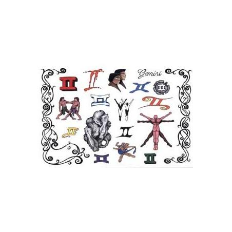 Tattoos Zodiaque autocollants Gemeaux