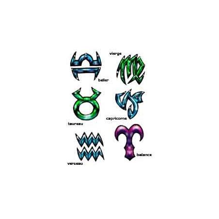 Planche Tattoo autocollant Zodiaque