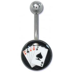 Piercing nombril banana casino logo jeux de carte poker en acier chirurgical