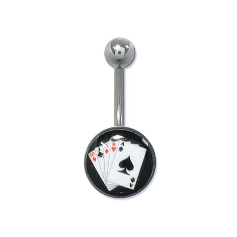 Piercing nombril banana casino logo jeux de carte poker en acier chirurgical