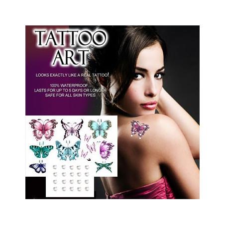 Tatouages temporaires Papillons couleurs cristal