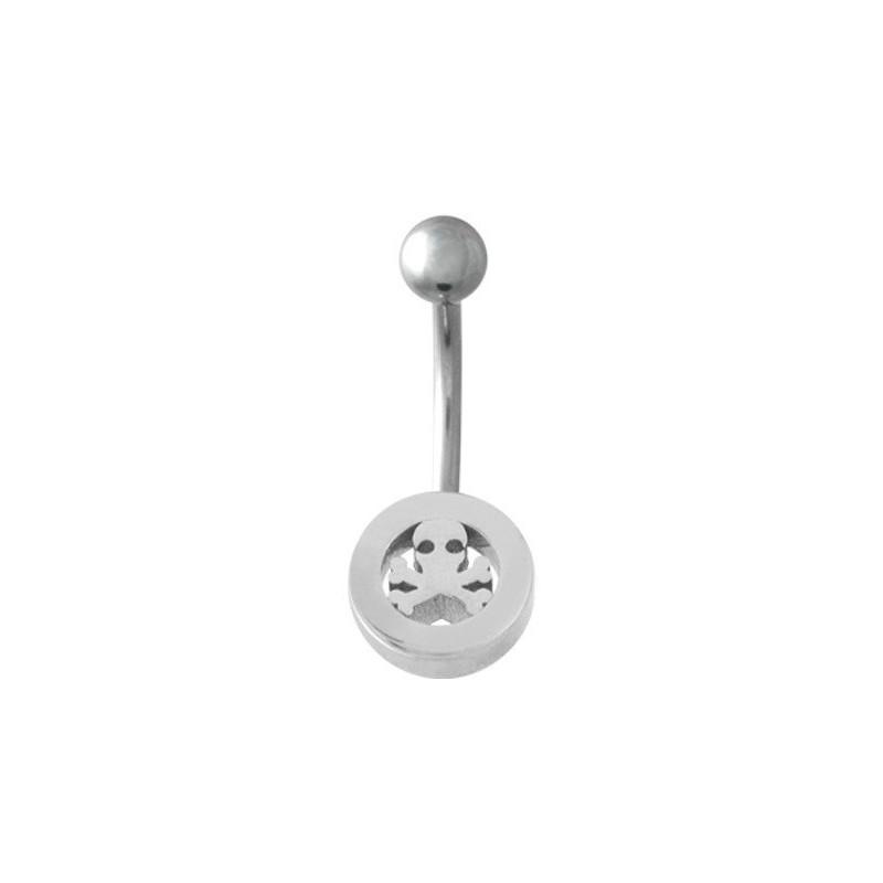 Piercing nombril en acier chirurgical logo tête de mort