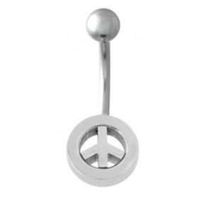Piercing nombril acier chirurgical logo Peace and love acier