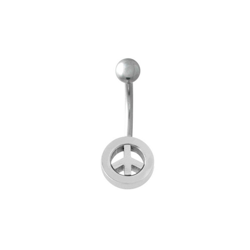 Piercing nombril acier chirurgical logo Peace and love acier