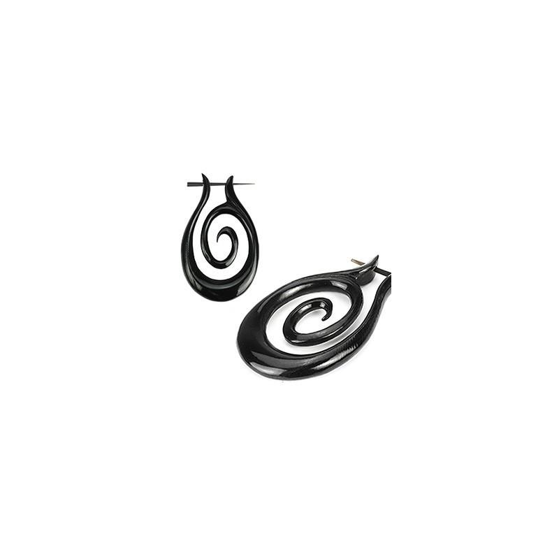 Boucle d'oreille créole pour femme en corne noir fait main