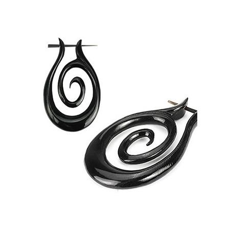 Boucle d'oreille en corne noir