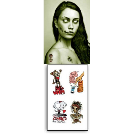 Tattoos temporaires autocollants Zombies