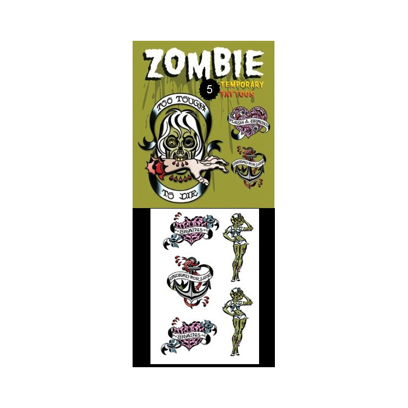 Tattoos temporaires autocollants Zombies Coeurs
