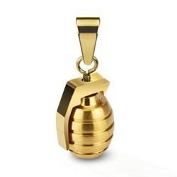 Pendentif grenade couleur Or en acier