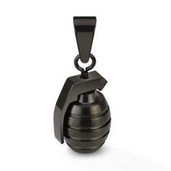 Pendentif grenade Noir en acier