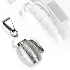 Pendentif grenade en acier inoxydable