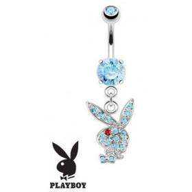 Piercing nombril Playboy pendant Bleu bijou nombril de marque en acier chirurgical