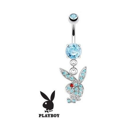 Piercing nombril Playboy pendant Bleu