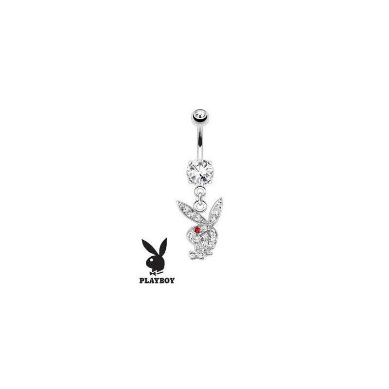 Piercing nombril Playboy en cristal blanc et rouge et acier chirurgical