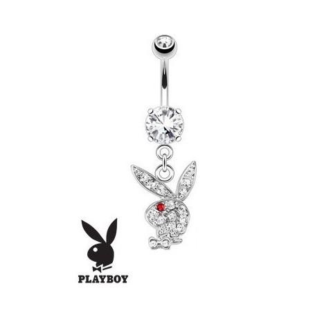 Piercing nombril Playboy blanc et rouge