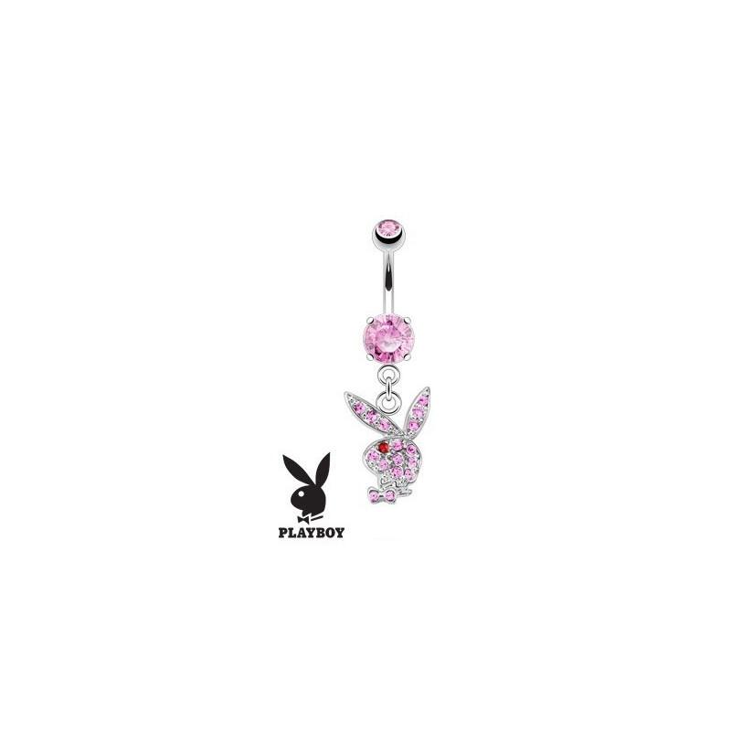 Piercing nombril Playboy pendant avec cristal Rose en acier chirurgical