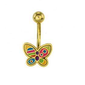 Piercing nombril acier chirurgical motif Papillon fixe couleur Or PVD