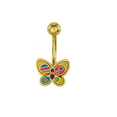 Piercing nombril Papillon Acier Doré
