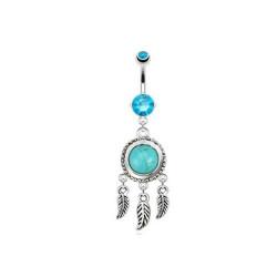 Piercing nombril Attrape rêve et turquoise