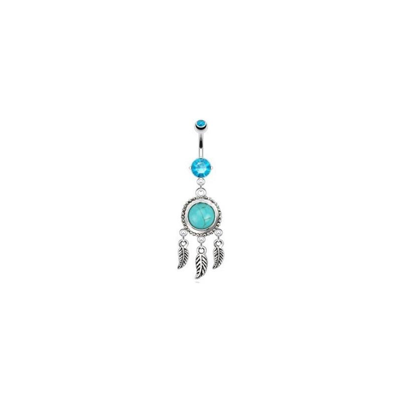 Piercing nombril en acier chirurgical pendantif Attrape rêve et pierre semi précieuse turquoise