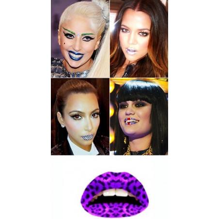 Lips Tattoo Leopard Violet