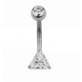 Piercing nombril fixe tout en Titane avec Cristal couleur blanc taillé en forme de Triangle