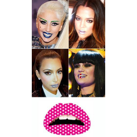 Tattoo temporaire Lips rose Etoiles blanches