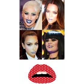Lips Tattoo rouge Coeurs blancs
