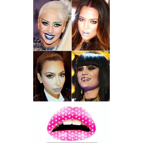 Tattoo temporaire Lips rose Points blancs