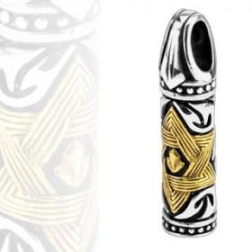Pendentif  pour homme en acier chirurgical motif totem tiki avec éoile de david dorée