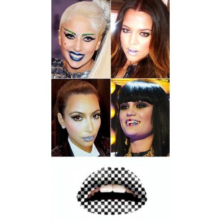 Tattoo temporaire Lips Echiquier noir