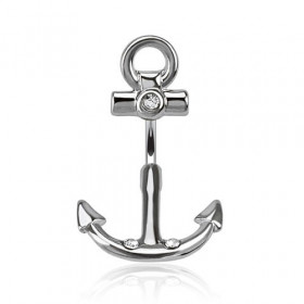 Piercing nombril en acier chirurgical motif double Ancre marine acier