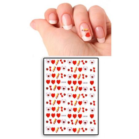 Tatouages Temporaires Ongles Coeurs et Love rouge