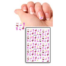 Tatouages Temporaires Ongles Lapins et Coeurs roses