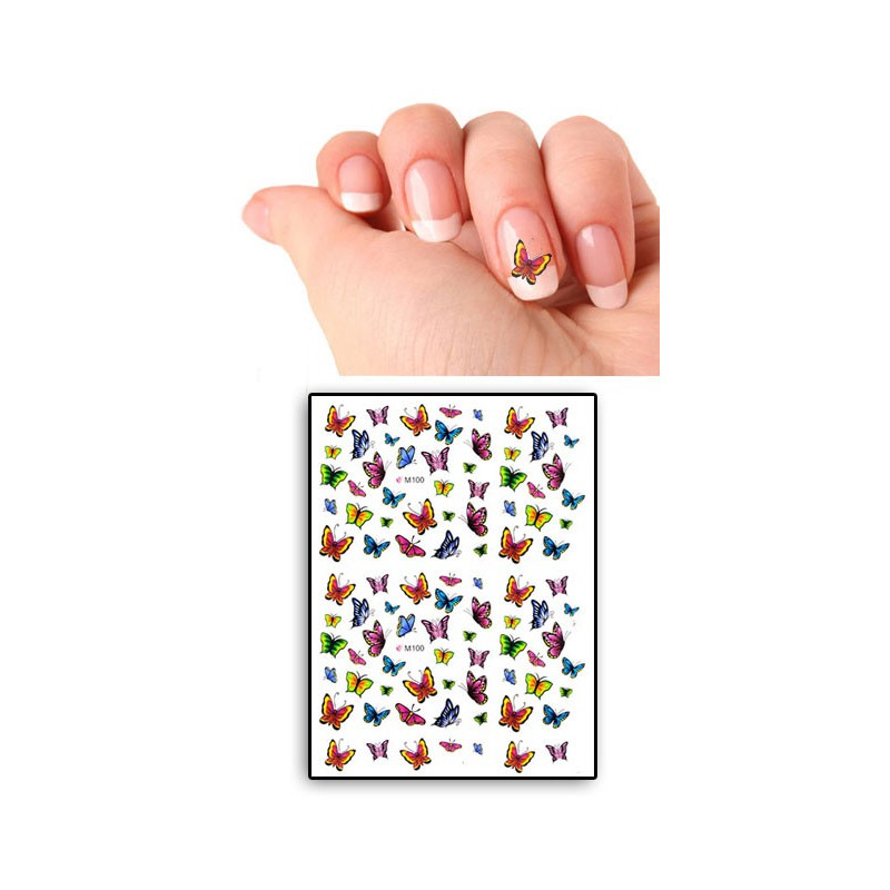 Tatouages Temporaires Ongles Papillons multicolors