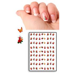 Tatouages Temporaires Ongles roses et papillons