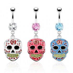 Piercing nombril en acier chirurgical pendentif tête de mort Mexicaine colorée