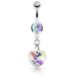 Piercing nombril pendentif Coeur cristal irisé