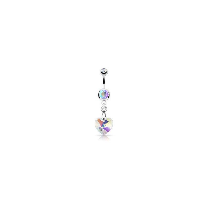 Piercing nombril en acier chirurgical pendentif motif Coeur en cristal couleur blanc irisé pas cher