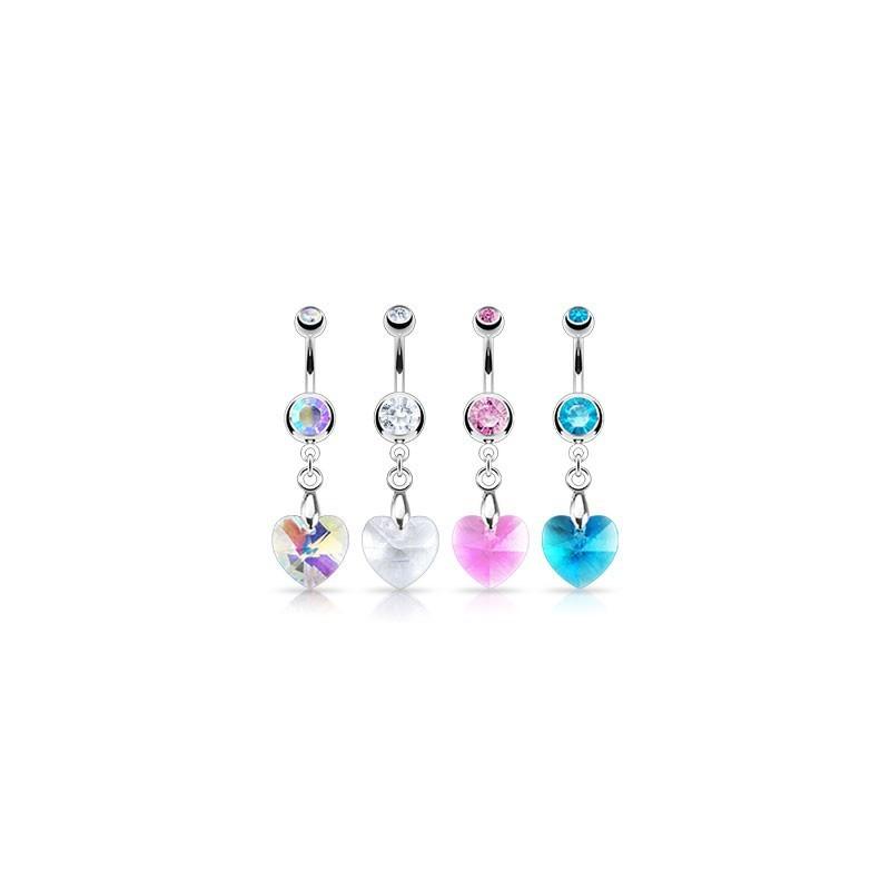 Piercing nombril en acier chirurgical motif Coeur en cristal pas cher