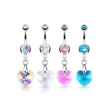 Piercing nombril pendentif Coeur cristal