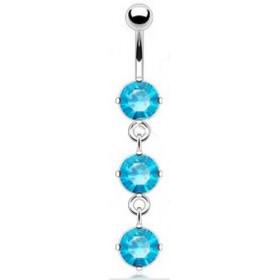 piercing nombril long pendant trois cristaux couleur Bleu en acier chirurgical