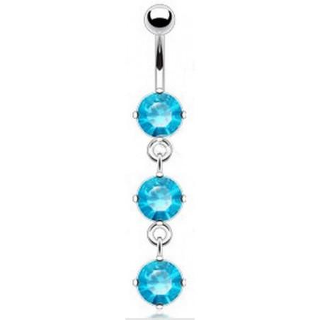 piercing nombril pendant 3 cristaux Bleu turquoise