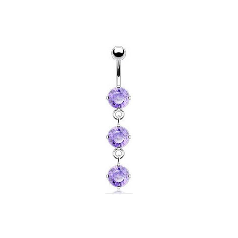 piercing nombril pendant articule en acier chirurgical trois cristaux Violet