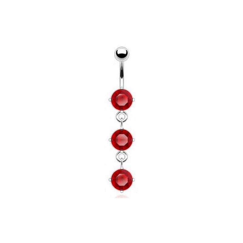 piercing nombril pendant cristal Rouge en acier chirurgical pas cher