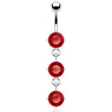 piercing nombril pendant trois cristaux Rouge