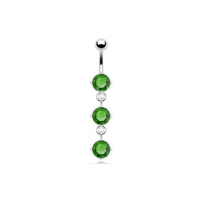 piercing nombril sexy pendant en acier chirurgical cristal couleur Vert