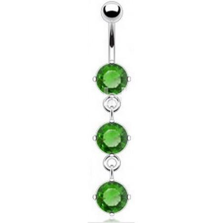 piercing nombril pendant trois cristaux Vert